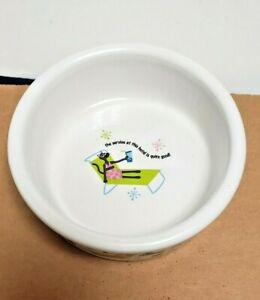 "SIGNATURE STONEWARE ""service cat"" DESIGN PET BOWL, GREAT FOR YOUR KITTY!"