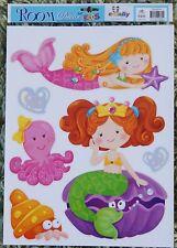 Sirena Peces Pegatinas De Pared Guardería Niños Bebé Niños Niñas calcomanías Dormitorio