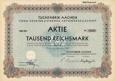 Tuchfabrik Aachen AG vorm. Süskind & Sternau historische Textil Aktie 1929 NRW