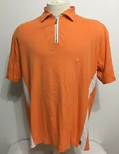 Zegna Sport Men Short Sleeve Tangerine/orange Zip Up Rugby/polo Shirt Size XL