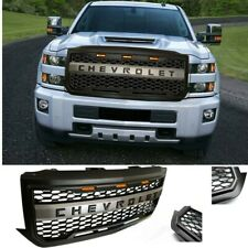 Black Bumper Grill Fit For 2016 2017 2018 Chevrolet Silverado 1500 Grille w/Logo
