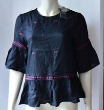 NEW LOOK BLACK FOLK BELL SLEEVES TOP size 8  new with tag #32