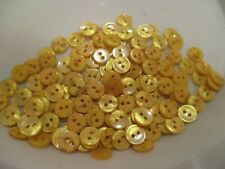 LOT OF 130 YELLOW COLOR 2 HOLE 7/16 INCH BUTTONS, NEW