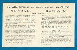 JULY 14TH 1933 CUNARD R.M.S. LANCASTRIA PROGRAMME & REGATTA NOTICE FJORDS CRUISE