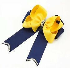 5inch Rhinestone Center Boutique Cheer Bow Hair Barrette(Yellow & Blue)