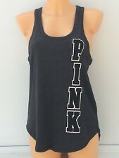 VICTORIA'S SECRET VS PINK Large Graphic Tank in Dark Grey Size M BNWT