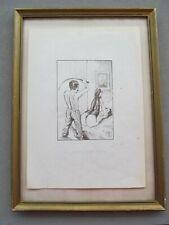 BDSM Sklavin   Erotik mit Peitsche originale alte Zeichnung 2