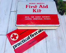 More details for vintage retro first aid tin with red cross first aid book 1960s / camper