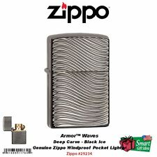 Zippo Waves Armor Black Ice Deep Carve Lighter, Sleek Design #29234