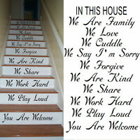 LARGE STAIRS STAIR IN THIS HOUSE RULES WE ARE FAMILY LOVE CUDDLE STICKER DECAL