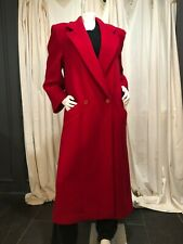 Red Wool Double-Breasted Long Coat; Perry Ellis Portfolio;