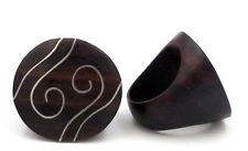 Bague ethnique en bois d'ébène bio et argent 925 artisanat Bali taille 58