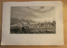 Antique French Naval Maritime Battle Engraving Combat Naval de Barcelonne 1655