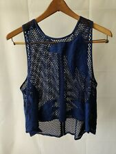 REBECCA MINKOFF  Blue Mesh Sleevless Blouse/Knit/Top Size Large