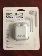 Tzumi 5761WM Sound Mates Bluetooth Stereo Earbuds + Charging Case WHITE (E1000)