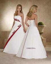 Schlichtes A-Linie Satin Brautkleid Weiß Weinrot Rot Spitze Übergröße Hochzeit