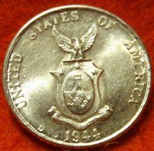 1944 D BU UNC Philippines,SILVER Ten 10 Centavo,  KM 181 High Grade! USA