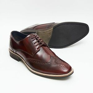 MENS LUCINI LEATHER SMART BROGUE OXFORD STYLE LACE UP SHOES,BLUE OR BORDO 13212