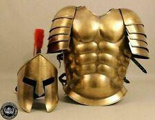 Muscle Jacket With Armor Spartan Helmet Brass Halloween Medieval Greek Costumes