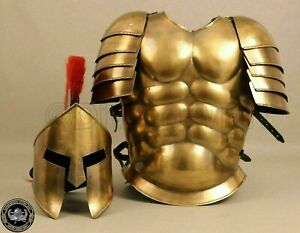 Muscle Jacket With Armor Spartan Helmet Brass Halloween Medieval Greek Costumes