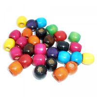 40 Holzperlen 17x16mm bunt Fädelloch 8mm groß XL Holz Perlen Mix unifarben oval