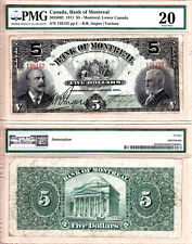 Rare 1911 $5 Bank of Montreal issued note PMG VF20, 505-50-02