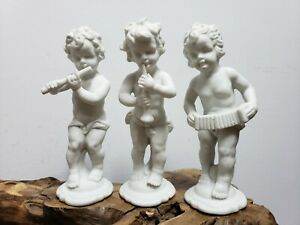 Vintage  White Porcelain  Angel  Music player Figurine(Set of 3)6inch Height