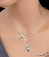 """Etsy Style Necklace Lariat Style Owl with Branch  Silver 19"""" chain + Ext"""