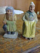 "2-Vintage VERY PRIMITIVE Folk Art Woman figurines HandCarved Wood 4-1/4"" & 5"""