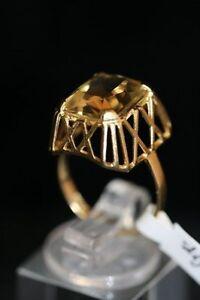 Ring , 585er Gold mit Citrin , 4 gramm , Ringgröße 55 /s6