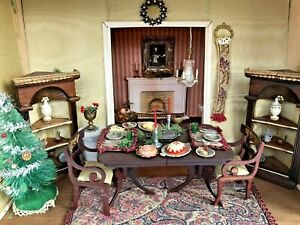 VTG 60's Christmas Dinner Roombox w Working Light Fireplace Living Room Diorama