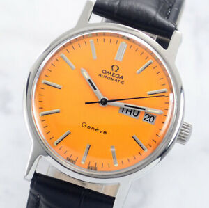OMEGA GENEVE AUTO CAL1022 DAY&DATE YELLOW DIAL MEN'S WATCH