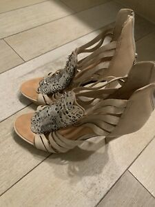 L.A.M.B. Leather High Heel Caged Sandals Nude Metal coin Sz 8 Zipper back