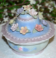 LOVELY VINTAGE PORCELAIN  MUSIC BOX, HAND MADE HAND APPLIED FLOWERS, TRINKET BOX