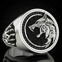 Vintage Wolf Head Witcher Claw 925 Silver Mens Ring Handmade Party AAA Quality