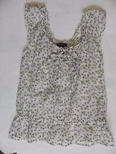 Banana Republic~White w Flowers Silk Blend Summer Top size Small