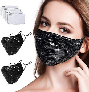 Known Sparkly Face Bandanas with Filter for Women,Bling Face Bandanas Fashion