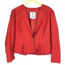 TRACHTENMODE Womens Blazer Jacket Size 40 Red 1 Button Puff Sleeves Pleated o506