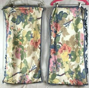 2x Pottery Barn Shams King Linen Big Flowers Peony? Floral Flowers Ikat Back