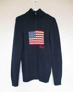 Polo Ralph Lauren Sweater XL (18-20) Boys navy w/American flag cotton knit