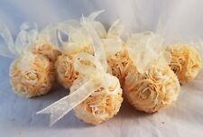 "10 Gold Peach Rose Flower Pomade Mini Small Wedding Kissing Ball Décor Ribbon 2"""