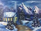 Bob Ross Style Painting on Canvas (Evening Mass) by D Varrasso 11 X 14
