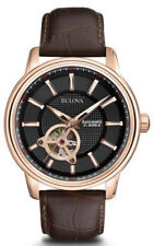 Bulova Men's 97A109 Automatic Skeleton Window Black Dial 45mm Watch