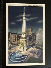 P66 Vintage Linen Postcard  Indiana - Soldiers' and Sailors' Monument at Night