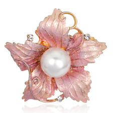 Retro Charm Pink Enamel Crystal Pearl Flower Bouquet Brooches Lapel Pin Jewelry