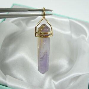 35mm Purple Citrine Natural Ametrine Prism Pendant Genuine 375 9k Yellow Gold