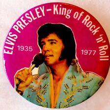 Original ELVIS PRESLEY King of Rock 'n Roll BUTTON Box Car ©1977 Rare N.Mint