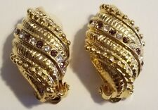 JBK Jackie Jacqueline Kennedy Gold Tone Pave Crystal Earrings Clip On Signed