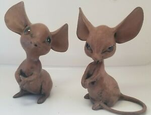 Set of 2 1970 Anthony Freeman McFarlin Brown Painted Mice. Private collection
