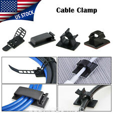 Adhesive Cable Clips Clamp Holder Black Wire Management Cord Organizer Durable